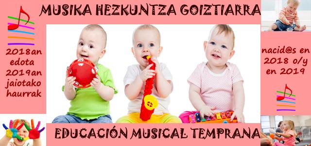 Musika Hezkuntza Goiztiarraren 1. aurkezpena: irailak 8 – 16:00etan