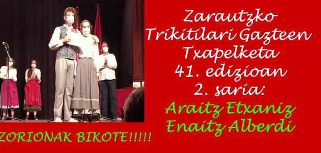 Araitz Etxaniz eta Enaitz Alberdi – 2. saria Zarautzko Trikitilari gazteen Txapelketan